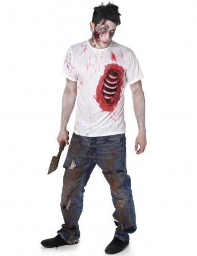 Disfraz de zombie con costillas de látex hombre Halloween
