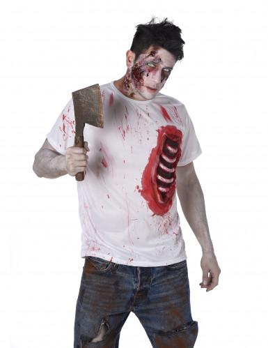 Disfraz de zombie con costillas de látex hombre Halloween-1