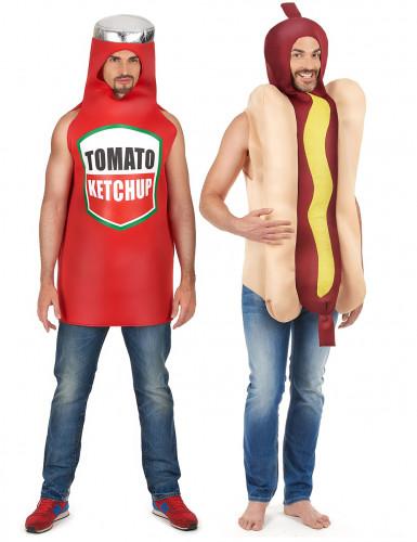 Disfraz de pareja hot dog y ketchup adulto