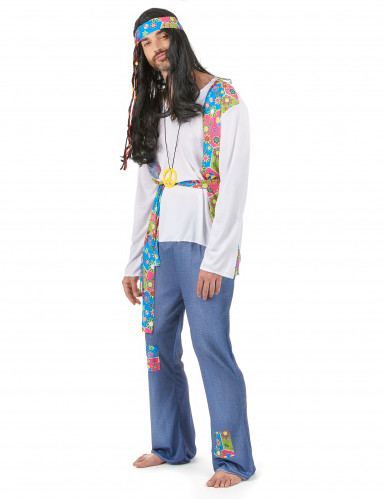 Disfraz de pareja hippie azul adulto-1