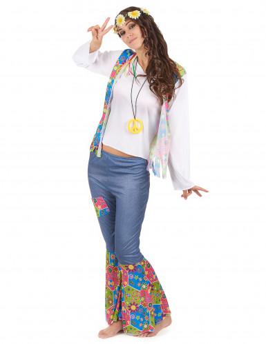 Disfraz de pareja hippie azul adulto-2