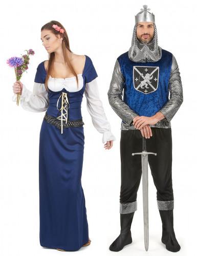 Disfraz de pareja medieval azul adulto