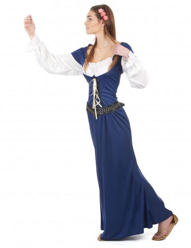 Disfraz de pareja medieval azul adulto-2