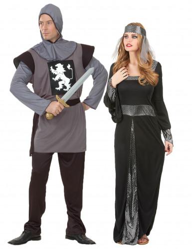 Disfraz de pareja medieval gris y negro adulto