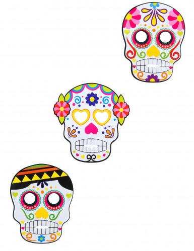 3 Máscaras de cartón Día de los muertos adulto Halloween