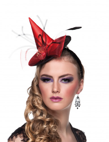 Mini sombrero de bruja roja mujer Halloween