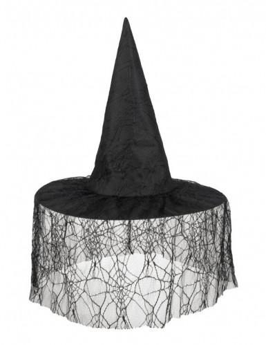 Sombrero de bruja negro con velo araña mujer Halloween-1
