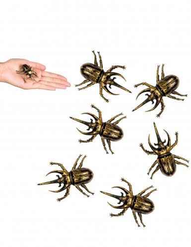 6 Decoraciones 6 escarabajos dorados 6x5 cm Halloween