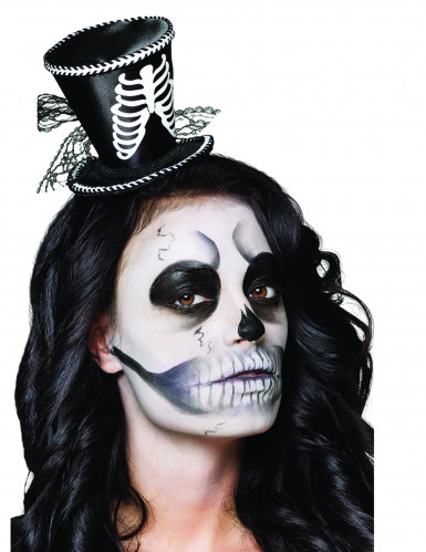 Mini sombrero de copa esqueleto para mujer Halloween