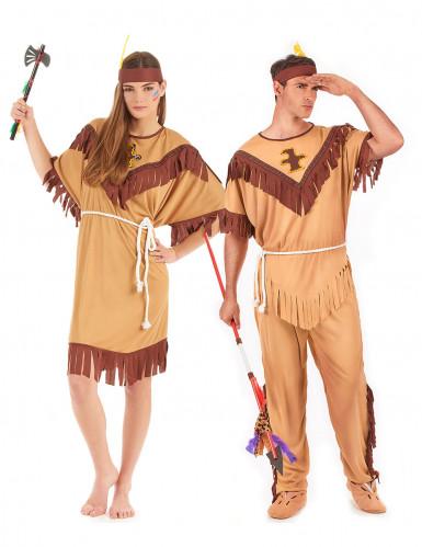 Disfraz de pareja india bicolor adulto