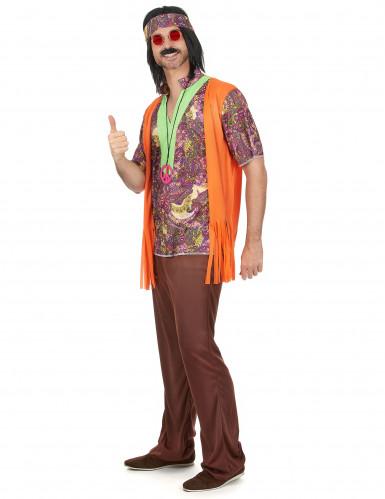 Disfraz de pareja hippie naranja adulto-1