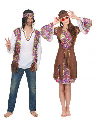 Disfraz de pareja hippie violeta adulto