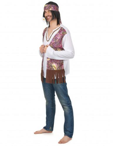 Disfraz de pareja hippie violeta adulto-1
