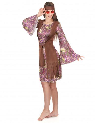 Disfraz de pareja hippie violeta adulto-2