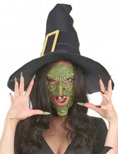 Semi-máscara látex nariz y barbilla bruja verde adulto-1