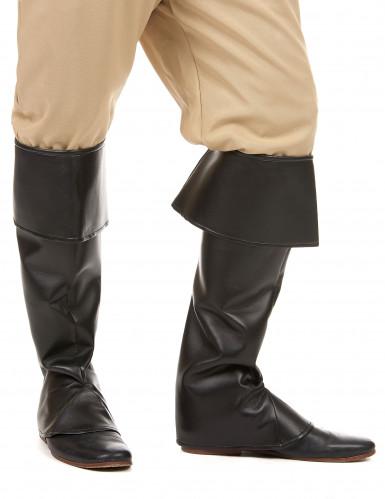 Cubre botas negras efecto cuero adulto