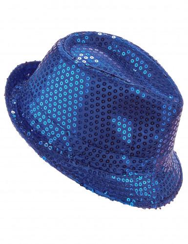 Sombrero con lentejuelas azul oscuro adulto