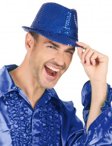 Sombrero con lentejuelas azul oscuro adulto-2