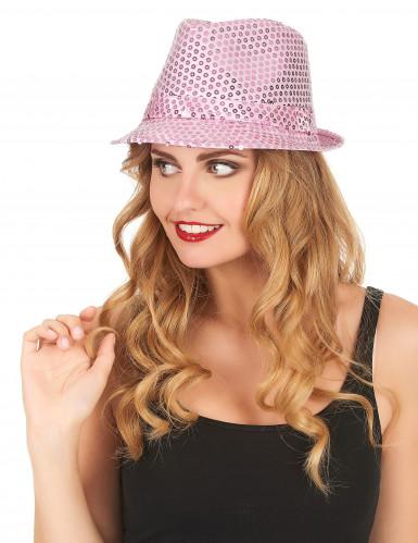 Sombrero borsalino lentejuelas rosas adulto-1