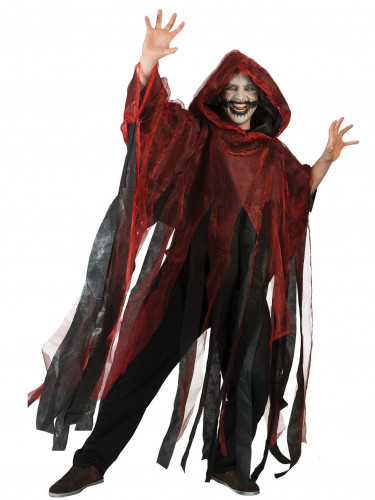 Capa roja y negra adulto Halloween