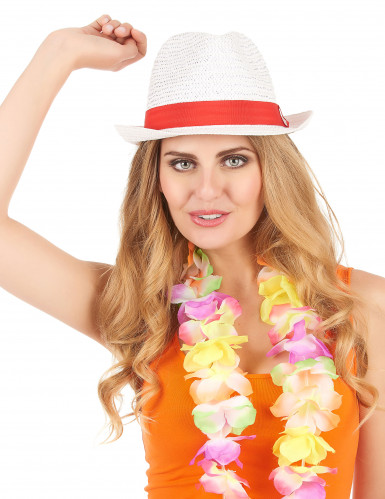 Sombrero borsalino blanco con banda roja adulto-1