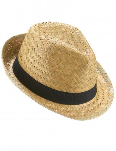 Sombrero borsalino de paja y banda negra adulto