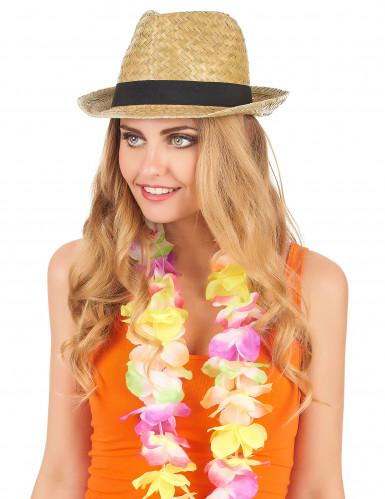 Sombrero borsalino de paja y banda negra adulto-1