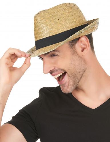 Sombrero borsalino de paja y banda negra adulto-2