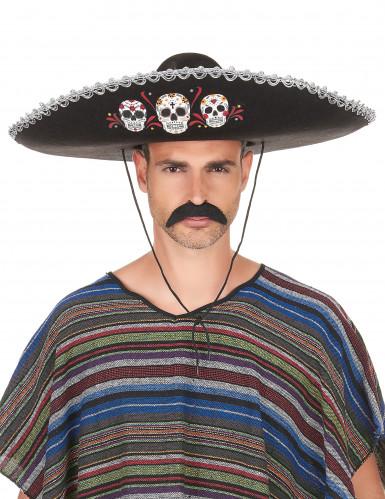 Sombrero negro y plateado Día de los Muertos adulto