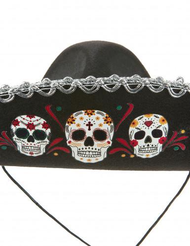Sombrero negro y plateado Día de los Muertos adulto-1