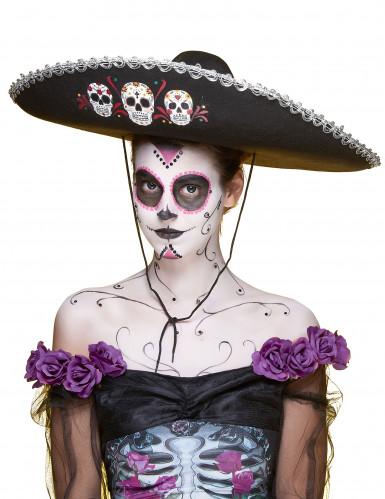 Sombrero negro y plateado Día de los Muertos adulto-3