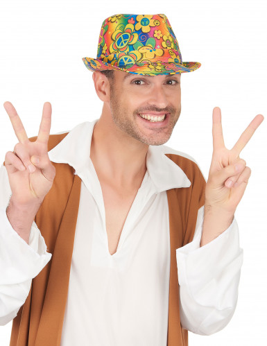 Sombrero borsalino hippie flores adulto-2