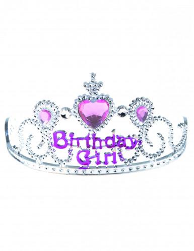 Diadema de princesa Birthday girl plateada y rosa