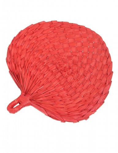Abanico de paja roja adulto
