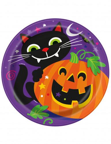 8 Platos de cartón calabaza y compañía Halloween 23 cm