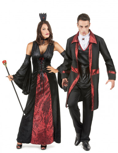 Disfraz de pareja vampiro rojo y negro Halloween