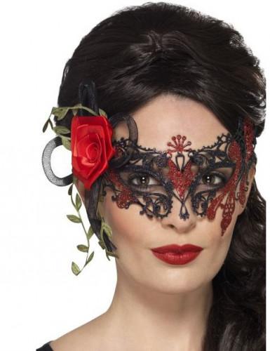 Antifaz de encaje negro y rojo mujer Día de los Muertos