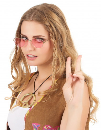 Gafas rosas corazón montura metálica adulto-1