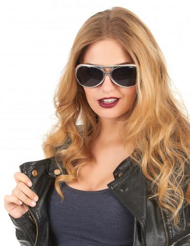 Gafas redondas plateadas adulto-1