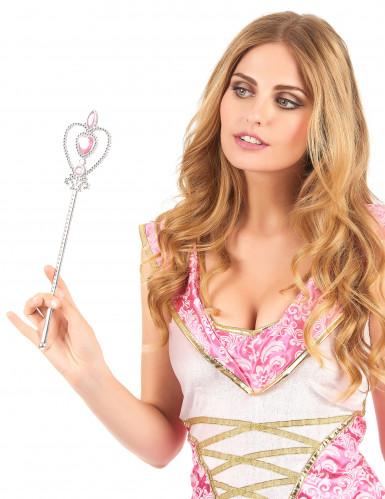 Varita princesa corazón rosa plateada adulto y niño-1