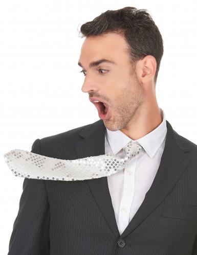 Corbata blanca de lentejuelas adulto