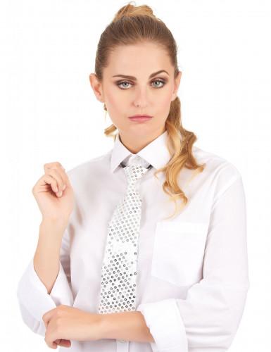 Corbata blanca de lentejuelas adulto-1
