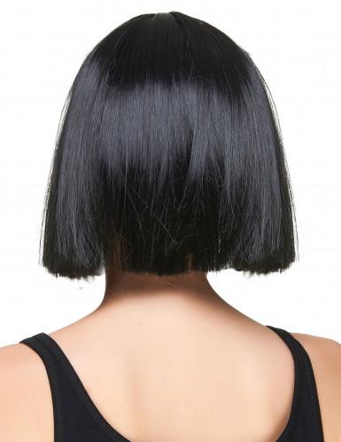 Peluca cuadrada negra con flequillo mujer-1