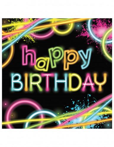 16 Servilletas Happy birthday- Glow Party