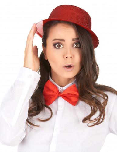 Sombrero de plástico brillantina rojo adulto-1
