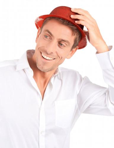 Sombrero de plástico brillantina rojo adulto-2