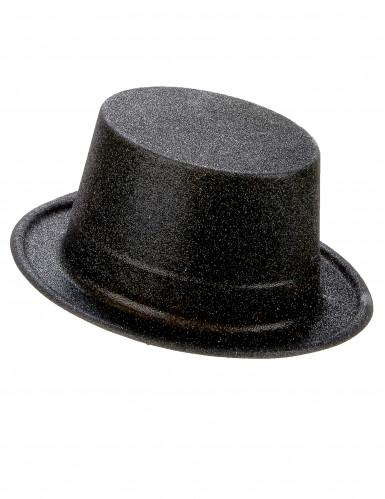 Sombrero de copa de plástico con brillantina negro adulto