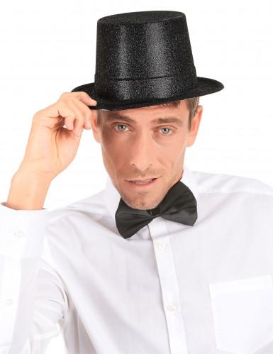 Sombrero de copa de plástico con brillantina negro adulto-2