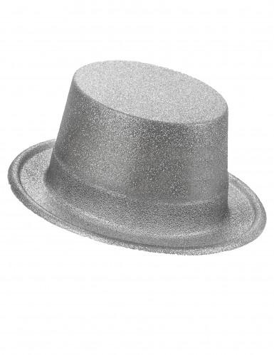 Sombrero de copa de plástico con brillantina plateado adulto