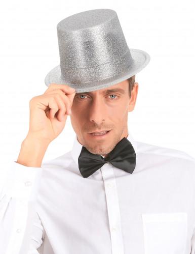 Sombrero de copa de plástico con brillantina plateado adulto-2